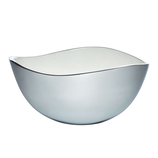 Alloy 11 Inch Bowl with White Enamel Accent
