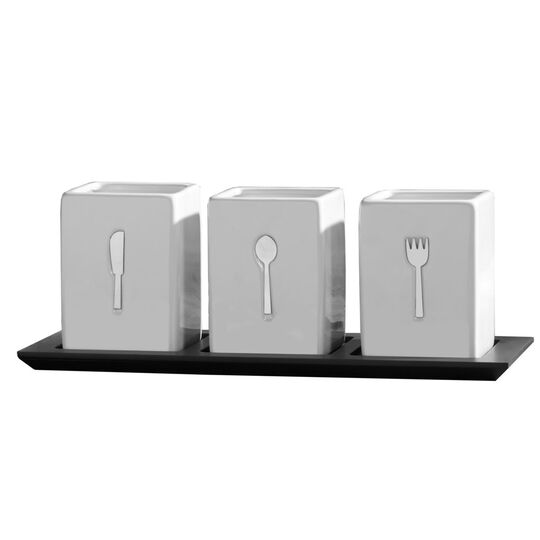 3 Piece Ceramic Caddy on Wood Tray