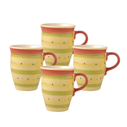 Set of 4 Coffee Mugs with Red Handle