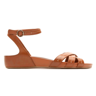 Total Motion Stitched Anklestrap Sandal in Brown