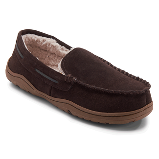 Genuine Suede Loafer Slipper - Men's Brown Slippers