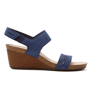 Total Motion Taja Perf Quarter Strap Sandal in Navy