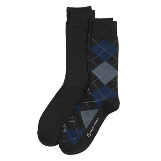 Men's Argyle Crew Socks , BLACK