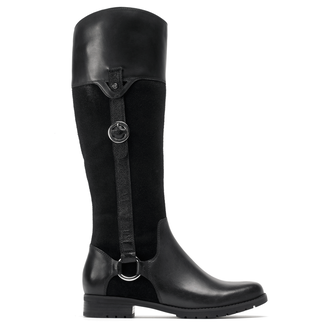 Tristina Buckle Riding Boot Extended Shaft Women's Boots in Black