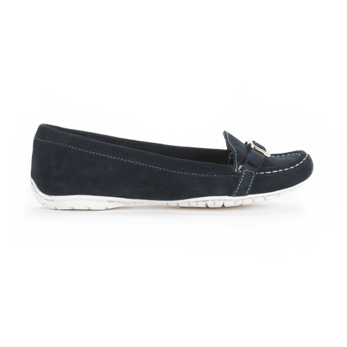 Etty Enamel Moc Women's Flats in Navy