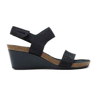 Rockport Women's Black Total Motion Taja Perf Quarter Strap Sandal