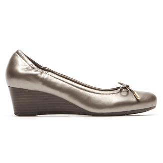 Total Motion Tied Wedge, TAUPE METALLIC