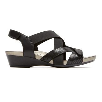 Standon X-Strap Sandal Extended Size Women's Shoes in Black