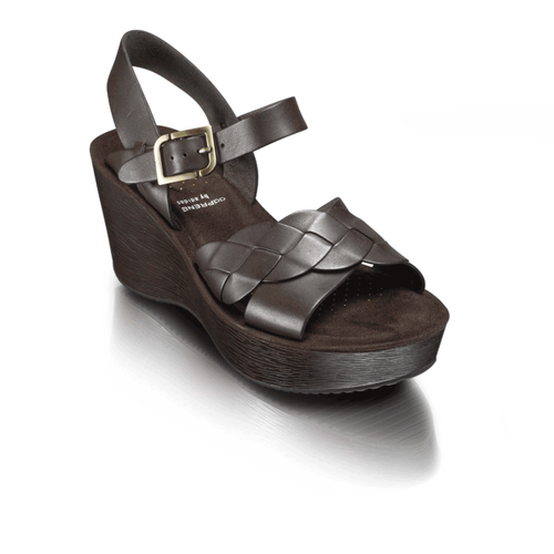 Keira Quarter Strap Braid Women's Sandals in Brown