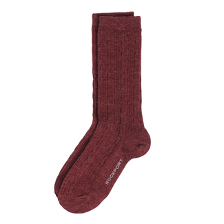 Wool Blend Cable Knit Socks in Red