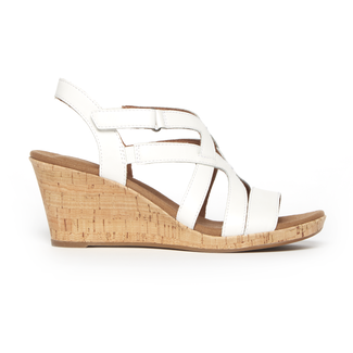 Briah Caged Sandal , WHITE LEATHER