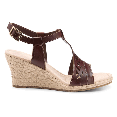 Emily Laser Cut T-Strap Women's Sandals in Brown