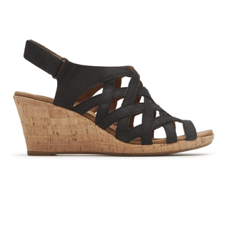 Briah Woven Sandal Comfortable Women's Shoes in Black