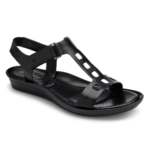 Dailana Square Perf Quarter Strap Women's Sandals in Black