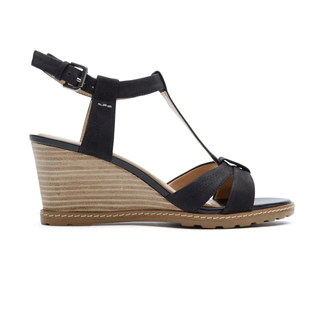 Rockport Women's Black Garden Court T-Strap Sandal