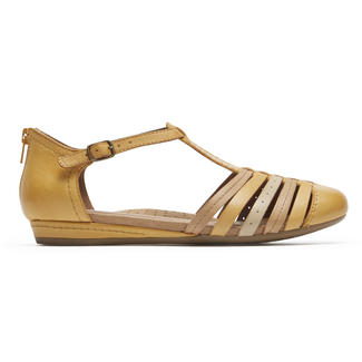 Cobb Hill Galway Strappy Toe Comfortable Women's Shoes in Yellow