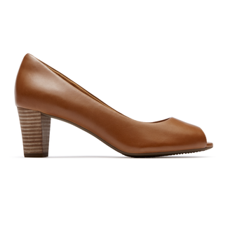 Audrina Peep Toe Comfortable Women's Shoes in Brown