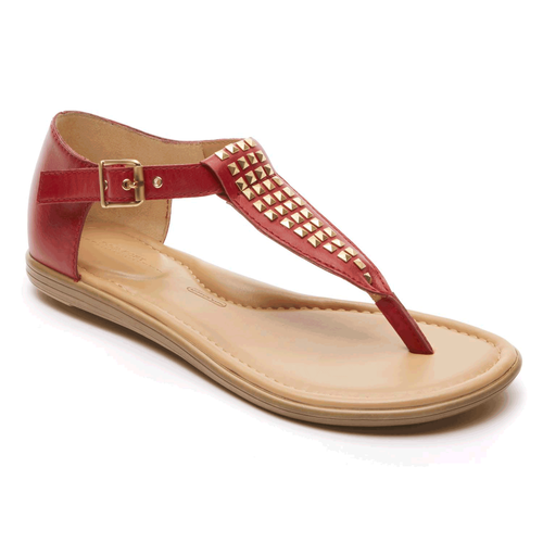 Jeanie Stud Thong Women's Sandals in Red