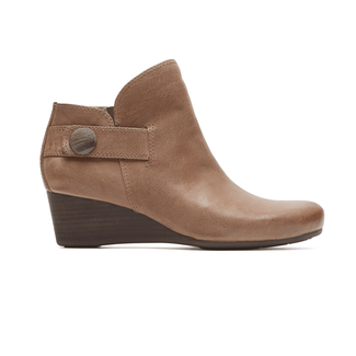 Rockport Women's Tan Total Motion Wedge Stone Bootie