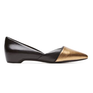 Total Motion Hidden Wedge Layer D'Orsay Flat, CHAMPAIGNE GLITTER LEATHER
