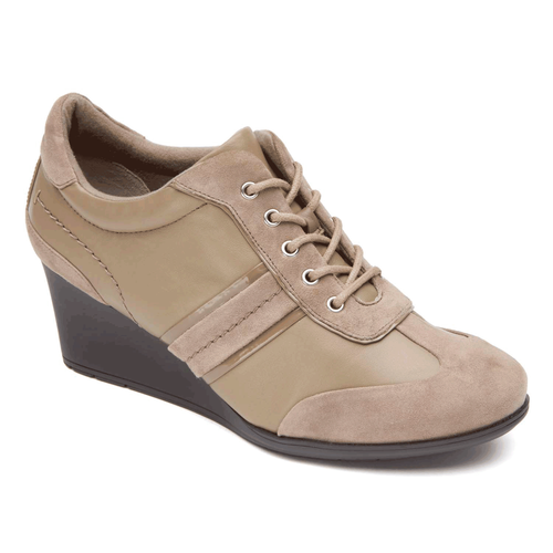 Total Motion Stitch Lace Up Women's Wedges in Grey