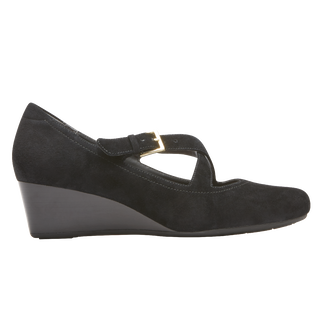 Total Motion Two Strap Wedge, BLACK SUEDE