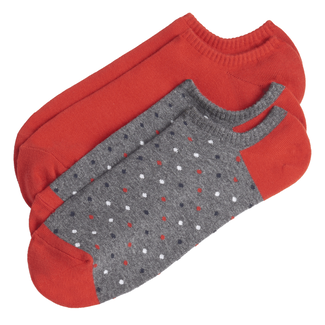Women's No Show Athletic Socks, RED MULTI