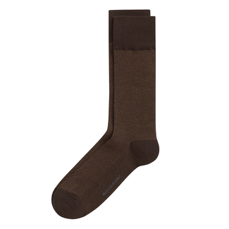 Herringbone Cotton Crew Socks in Brown