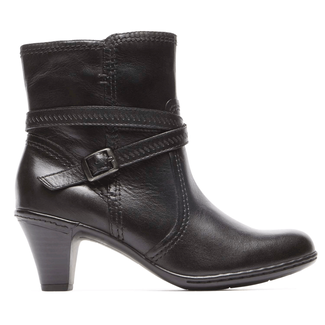Missy Side Zip Bootie Cobb Hill by Rockport in Black