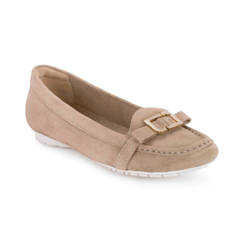 Etty Enamel Moc Women's Flats in Grey