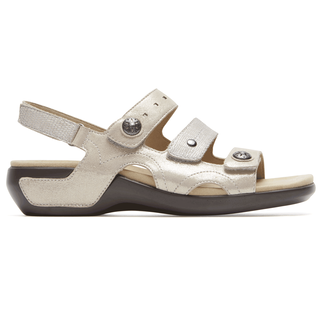 Power Comfort 3 Strap Sandal  Extended Size Women's Shoes in White