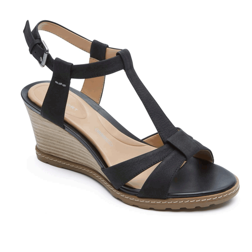 Garden Court T-Strap Sandal in Black