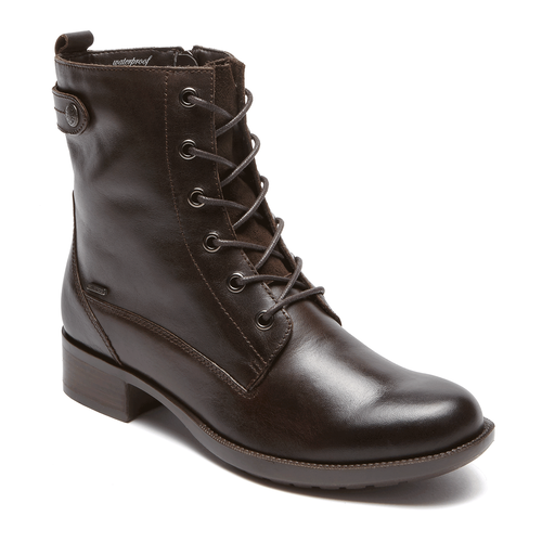 Carrie Waterproof Lace Up Boot by Rockport in Brown