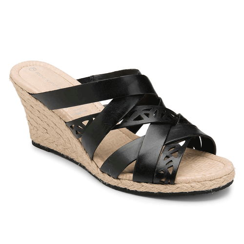 Emily Laser Cut Slide Women's Sandals in Black