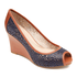 Seven to 7 Laser Peep Toe Wedge Women's Wedges in Navy