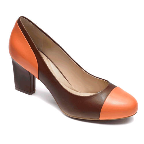 Seven to 7 Color Block Pump Women's Heels in Brown