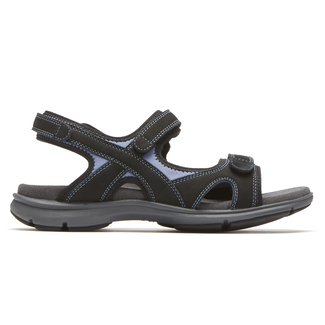 Rev Sandal 3 Strap Extended Size Women's Shoes in Black