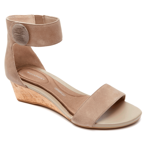 Total Motion Stone Anklestrap Wedge in Grey