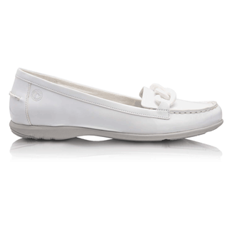 Ashley Moc Chain Women's Flats in White