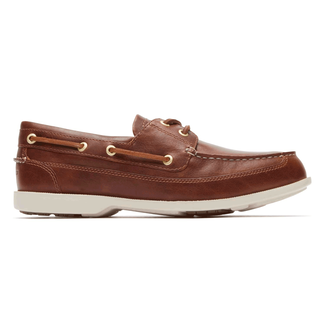 Rockport Men's Brown Jeffrey's Bay 2-Eye Boat Shoe
