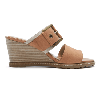 Rockport Women's Tan Garden Court Buckled Slide Wedge