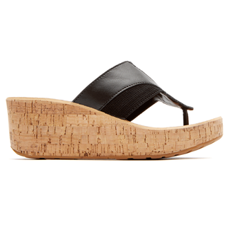 Weekend Casuals Lanea Gore Thong Wedge in Black