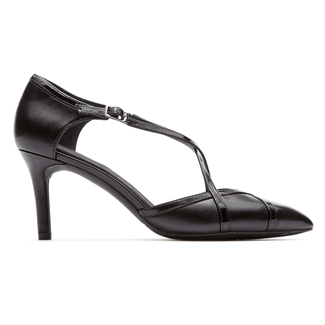 Total Motion Cross Strap Heel Comfortable Women's Shoes in Black