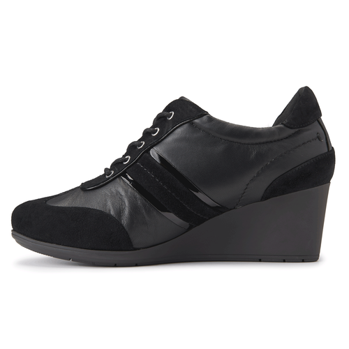Total Motion Stitch Lace Up Women's Wedges in Black