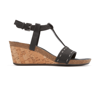 Total Motion  Taja T Strap Sandal in Black