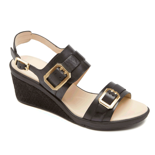 Emmalina Buckle Ankle Strap Women's Sandals in Black