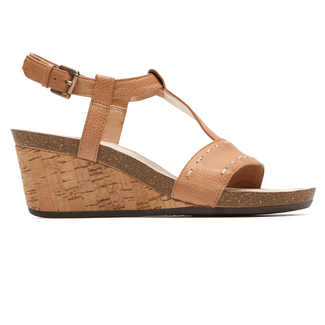 Total Motion Taja T Strap SandalRockport® Women's Tan Total Motion®  Taja T Strap Sandal