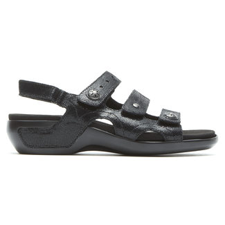 Power Comfort 3 Strap Sandal  Extended Size Women's Shoes in Black