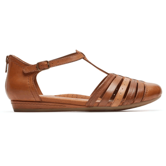 Cobb Hill Galway Strappy Toe Comfortable Women's Shoes in Brown