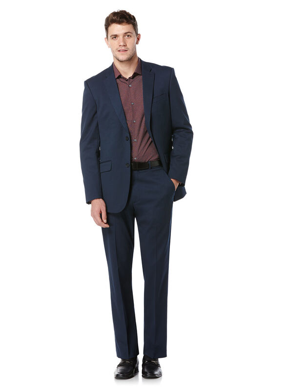 Regular Fit Navy Textured Suit, , hi-res